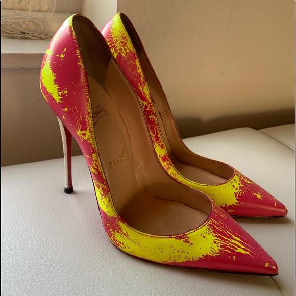 Neon / Pink Christian Louboutin heels